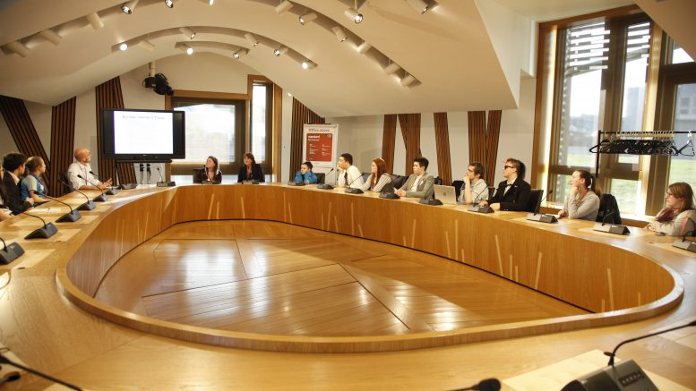 The Futures Forum hold a joint meeting with MSYPs during the Scottish Youth Parliament's 64th session held in the Scottish Parliament