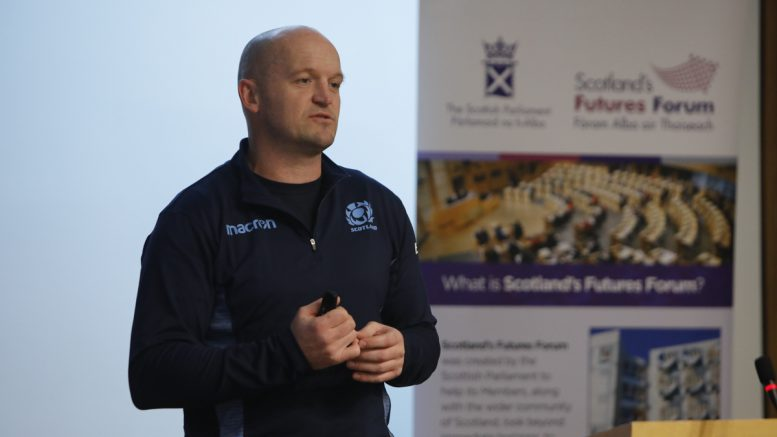 Gregor Townsend speaking at our seminar on leadership in sport